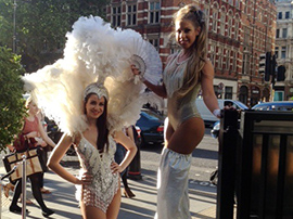 Showgirl Stilt Walkers for hire