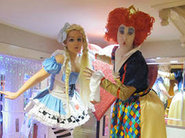 Alice in Wonderland theme stilt walkers