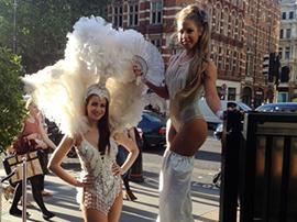 Showgirl Stilt Walkers for hire
