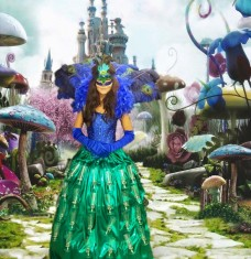 Alice in Wonderland Peacock Champagne Dress